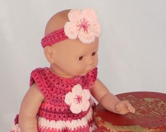 Baby Doll Clothes  Crochet Baby Doll Clothes  Crochet Baby Doll Dress Headband Shoes  Pink Striped Baby Doll Dress  Baby Doll Clothing