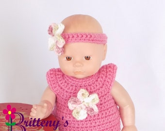 Baby Doll Clothes  Crochet Baby Doll Clothes Set Crochet Baby Doll Pink Shirt Skirt Booties Headband Baby Doll Clothing 13 or 14 inch Size