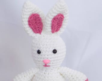White Rabbit White Rabbit Stuffed Animal Crochet White Rabbit Crochet Plush White Rabbit Toy White Rabbit Snuggly Pal