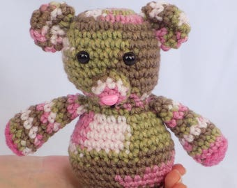Pink Camo Teddy Bear Pink Camo Teddy Bear Stuffed Animal Pink Crochet Teddy Bear Crochet Plush Teddy Bear Toy Teddy Bear Snuggly Pal