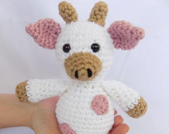 Pink Cow Stuffed Animal Cow for Baby Girl Pink Stuffed Cow Crochet Cow Stuffed Animal Plush Cow Cow Plush Toy Crochet Plush Cow Cow Snuggly