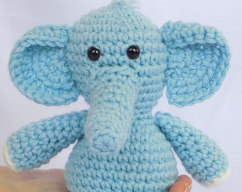 Blue Elephant  Blue Elephant Stuffed Animal  Crochet Blue Elephant Stuffed Animal  Crochet Plush Blue Elephant Toy  Elephant Snuggly Pal