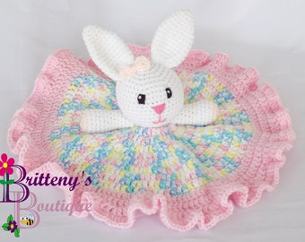 Baby Bunny Security Blanket Rabbit Lovey Blanket Baby Lovey Crochet Plush Bunny Blanket Cuddle Blanket Security Blanket Snuggle Blanket