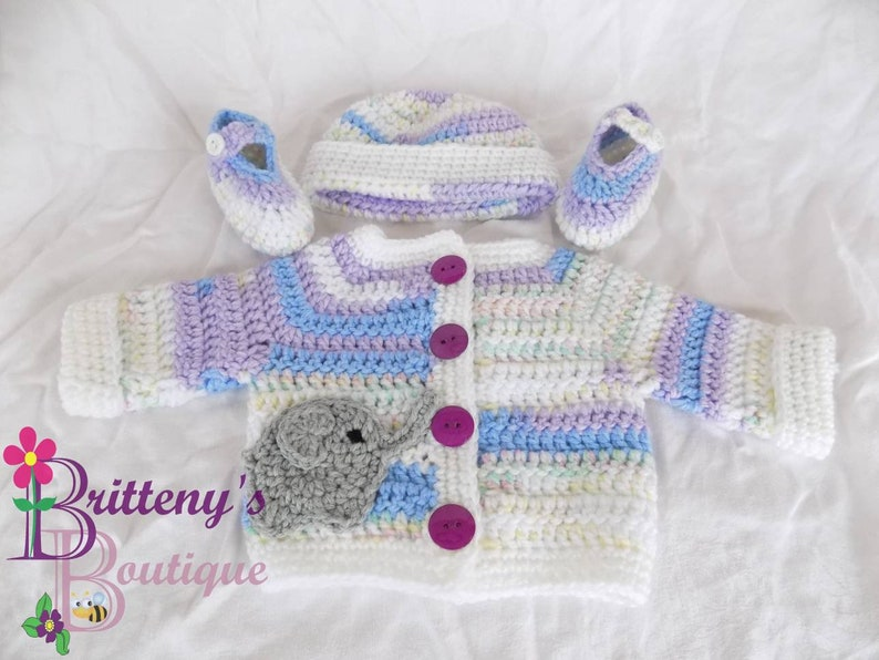 Baby Girl Cardigan Sweater Set Blue Purple and White image 0