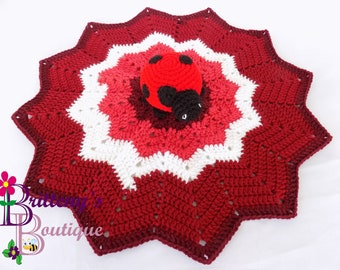 Security Blanket Ladybug Lovey Blanket Ladybug Cubbie Blanket Ladybug Blanket Cuddle Blanket Ladybug Crochet Blanket Crochet Baby Blanket