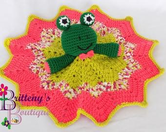 Security Blanket Frog Lovey Blanket Baby Lovey Crochet Baby Lovey Crochet Plush Green Frog Baby Girl Pink Security Blanket Snuggle Blanket