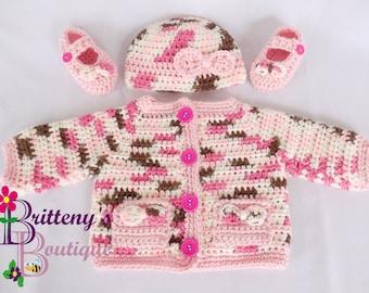 Baby Girl Sweater Crochet Baby Girl Sweater Crochet Sweater Crochet Baby Hat Crochet Baby Booties 0-3 Months Size