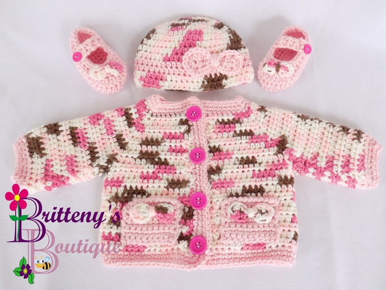 Baby Girl Cardigan Sweater Hat and Booties Layette Set image 0