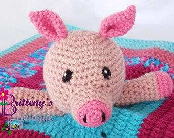 Baby Pig Security Blanket Pig Lovey Blanket Baby Lovey Crochet Plush Pink Pig Blanket Cuddle Blanket Security Blanket Snuggle Blanket Baby
