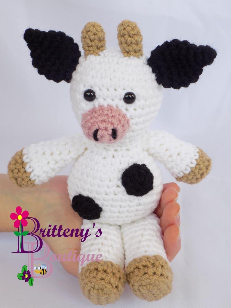 Cow Stuffed Animal Stuff Cow Crochet Cow Stuff Animal Crochet Black
