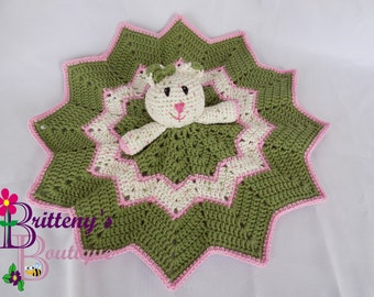 Baby Lovey Crochet Baby Lovey Crochet Plush White Cat Green Blanket Soft Cotton Security Blanket Snuggle Blanket Baby Shower Gift 18 inches