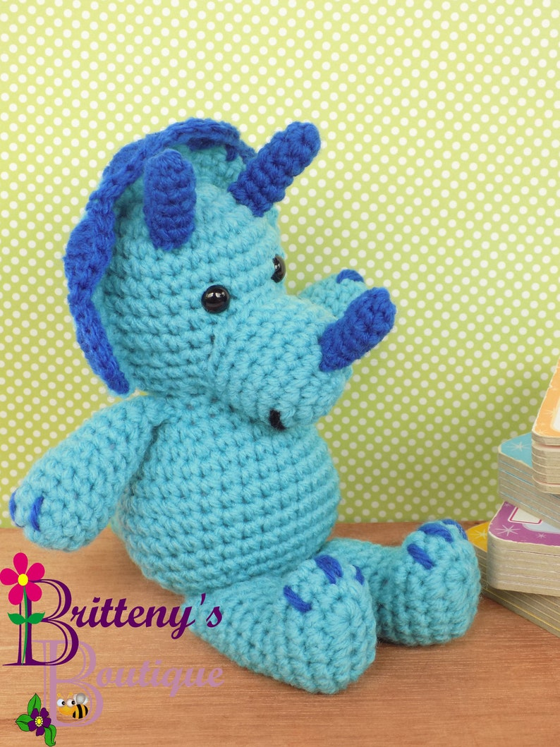 Blue Triceratops Dino Stuffed Animal Stuffed Blue Dino Crochet image 0