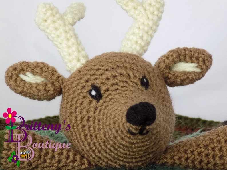 Baby Lovey Crochet Baby Lovey Crochet Plush Brown Buck Baby image 0
