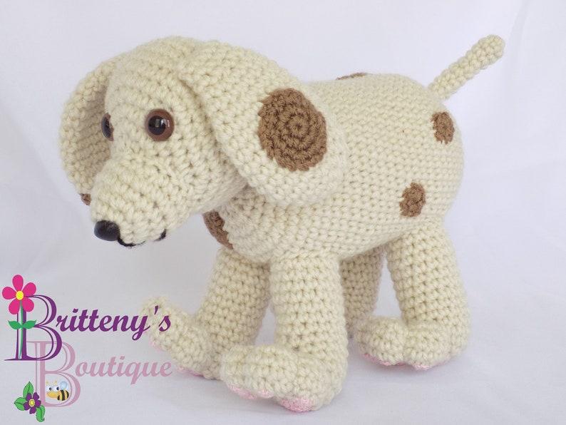 Tan Dog Stuffed Animal with Brown Spots and Pink Pads image 0