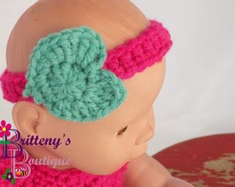 Baby Doll Clothes  Crochet Baby Doll Clothes  Crochet Baby Doll Dress Headband Shoes  Pink Aqua Baby Doll Dress  Baby Doll Clothing