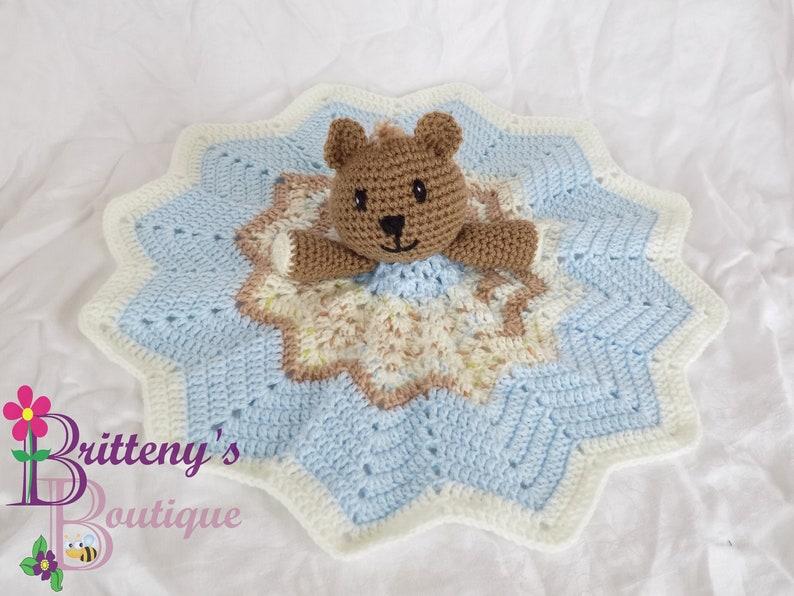 Baby Blue Boy Teddy Bear Lovey Security Blanket Bear Lovey image 0