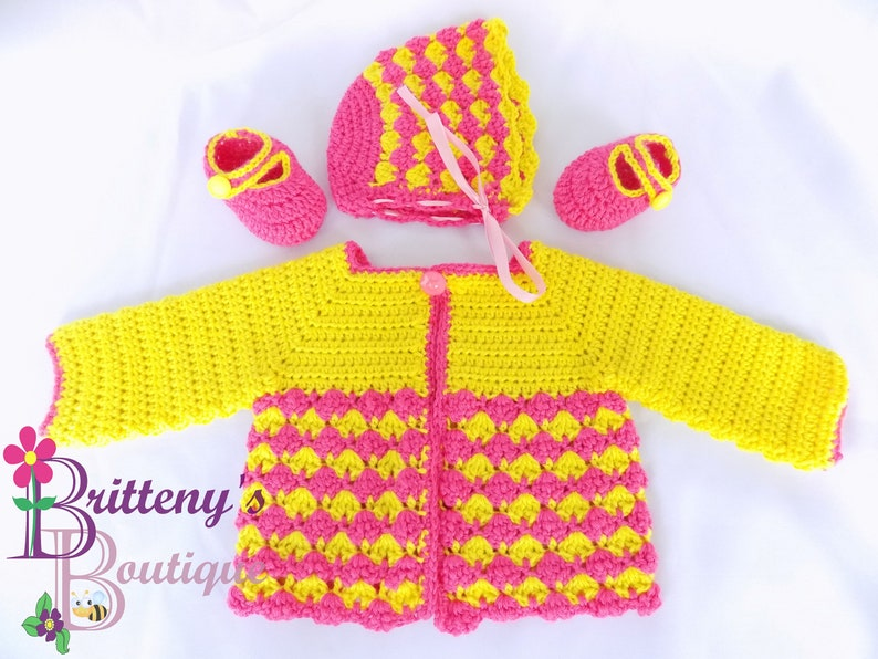 Sunshine Cardigan Baby Girl's Berry Cute Sweater Bonnet image 0
