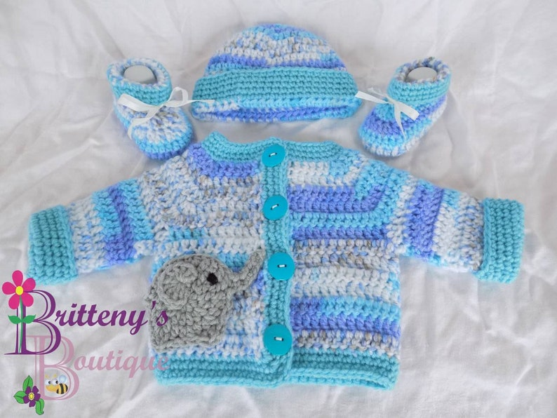 Baby Boy Cardigan Sweater Set Blue Variegated with Gray image 0