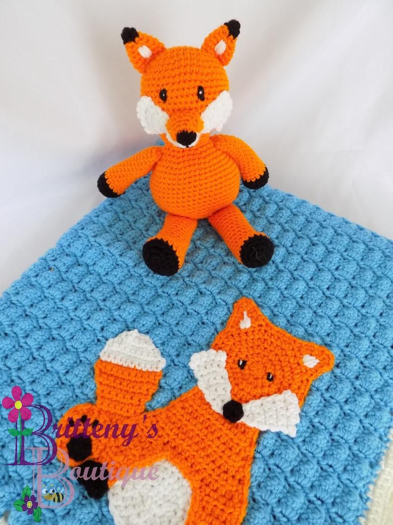 Orange Fox Stuffed Animal with Blue Blanket image 0