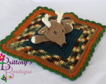 Baby Lovey Crochet Baby Lovey Crochet Plush Brown Buck Baby Boy Blue Security Blanket Deer Snuggle Blanket Baby Shower Gift 18 inches square
