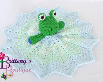 Baby Lovey Crochet Baby Lovey Crochet Plush Green Frog Baby Boy Blue Security Blanket Snuggle Blanket Baby Shower Gift 17 inches