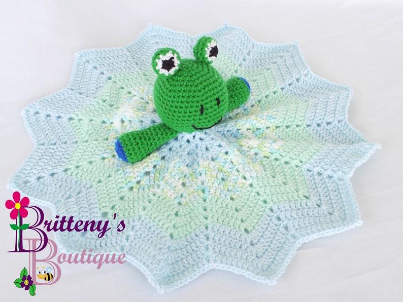 Baby Lovey Crochet Baby Lovey Crochet Plush Green Frog Baby image 0