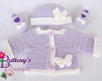 Baby Girl Sweater Crochet Baby Girl Sweater Crochet Sweater Crochet Baby Hat Crochet Baby Booties Purple Sweater White Butterfly 0-3 Months