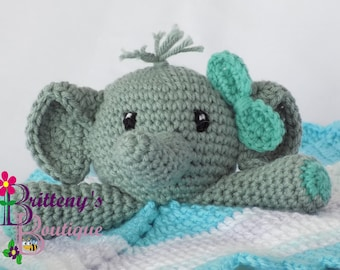 Baby Lovey Crochet Baby Lovey Crochet Plush Gray Elephant Baby Girl Blue Security Blanket Snuggle Blanket Baby Shower Gift 20 inches square
