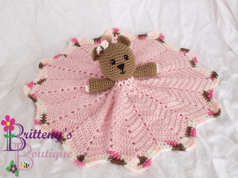 Baby Pink Girl Teddy Bear Lovey Security Blanket Girl Pink image 0