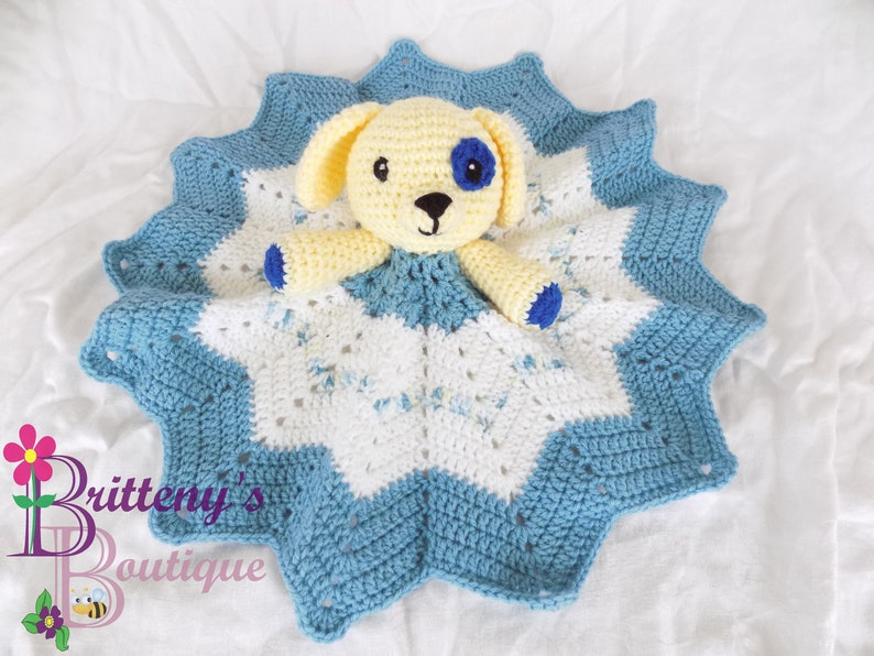 Baby Safe Puppy Lovey Security Blanket Yellow Puppy Dog Lovey image 0