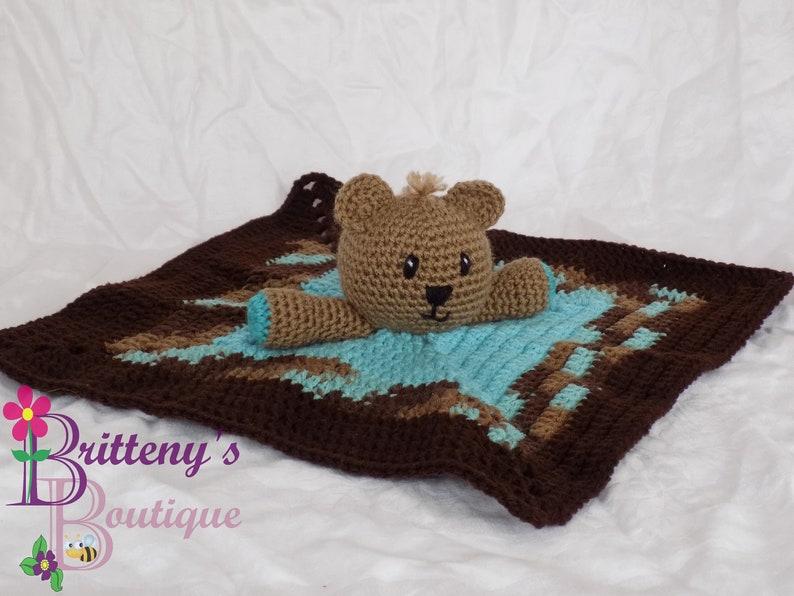 Baby Blue Boy Teddy Bear Lovey Security Blanket Boy Brown Bear image 0