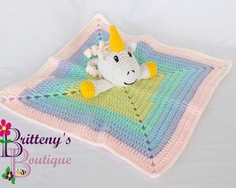 Baby Unicorn Security Blanket Unicorn Girl Lovey Blanket Baby Lovey Crochet Plush Unicorn Blanket Cuddle Blanket Security Blanket Snuggle
