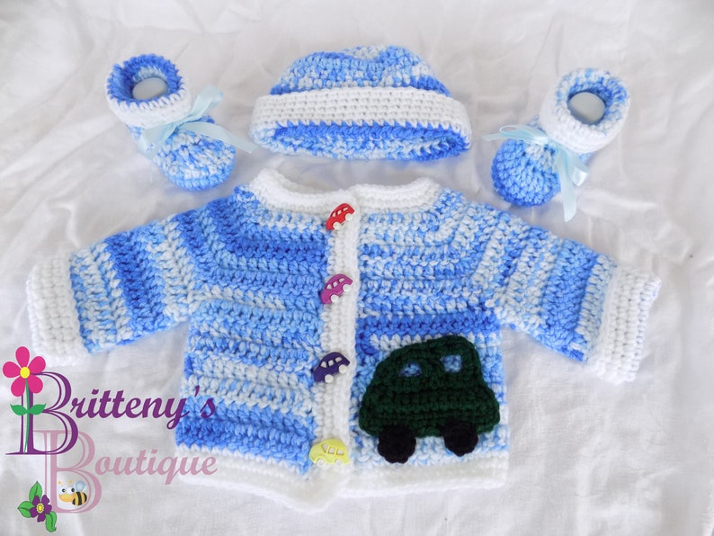Baby Boy Cardigan Sweater Set Blue Variegated with Green Car image 0