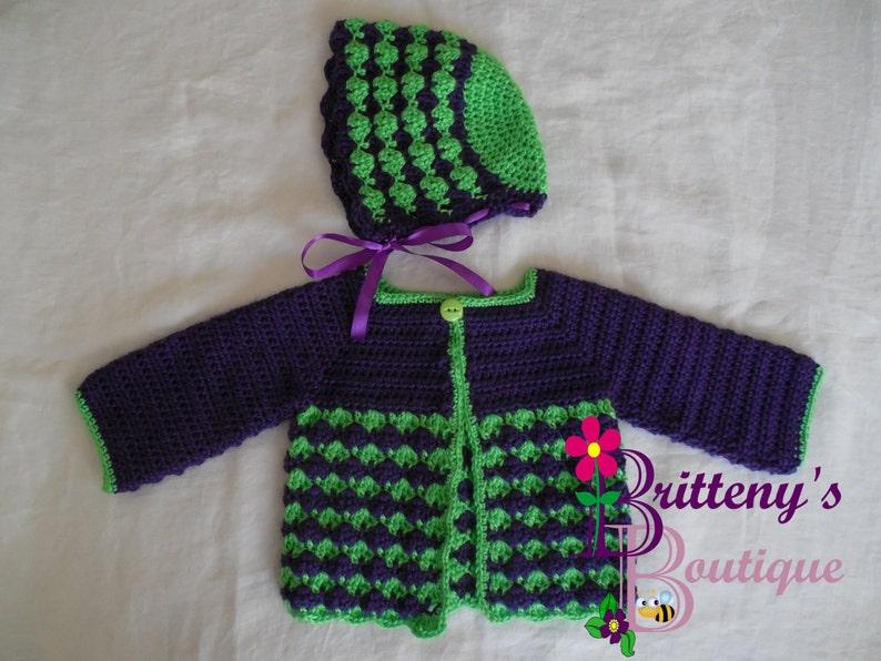 Grape Cardigan Baby Girl's Grape Berry Cute Sweater Bonnet image 0