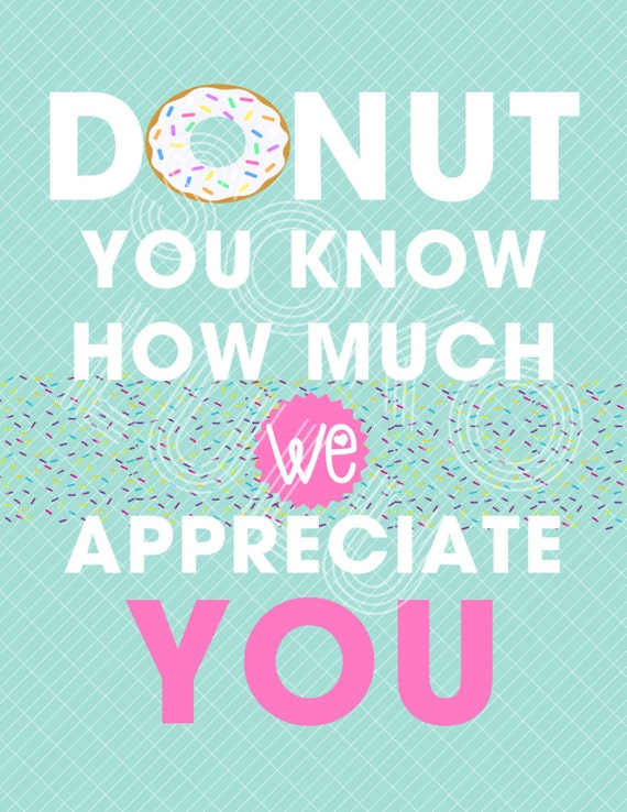 It is an image of Donut Teacher Appreciation Printable inside staff
