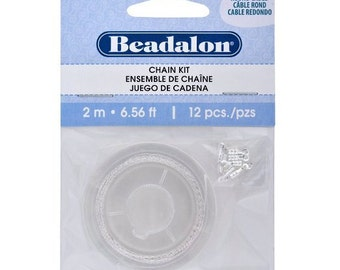 Beadalon Chain Kit - 0.9mm Round Cable - Silver Plated - 2-Meters