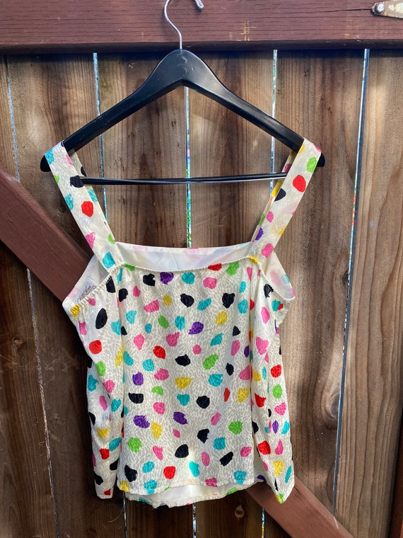 Vintage Silk Party Polka Dot Blouse  Black Multicolor Confetti Long Sleeve Top  M Medium 6