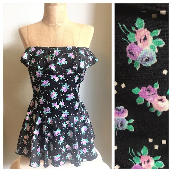 Plus Size 1980's Mini Floral Strapless Swimsuit