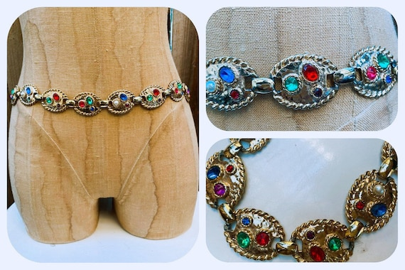 Multi-Color Rhinestone Metal Chain Belt