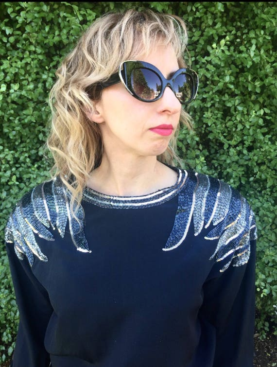 Silver Beaded Black Glam Rock Cocktail Dress