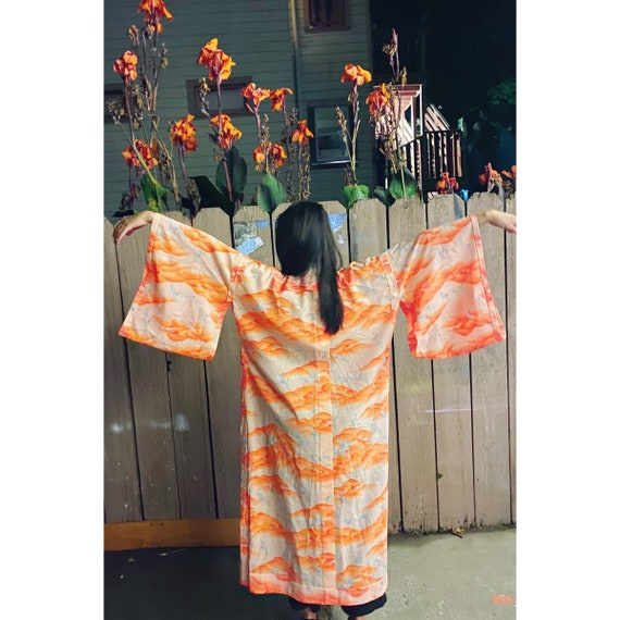 Vintage Peach And Orange Crane Print Kimono