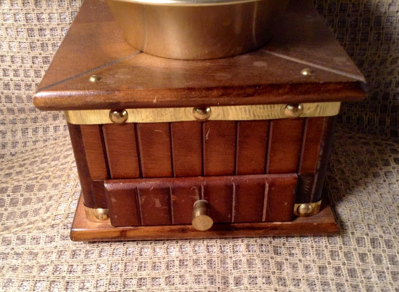French Country Kitchen Countertop Vintage Studded Wood Coffee Grinder GREAT SHAPE Rustic Hand Crank Grinder Kitchen Decor