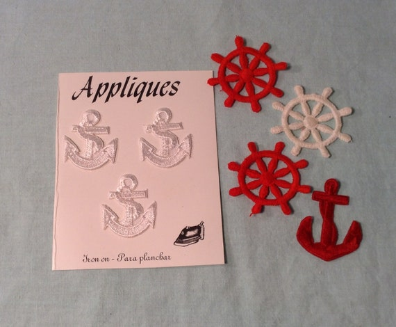 Set of 7 nautical sea life appliqués red & white ship etsy