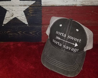 ad7effaa8ca Sorta sweet Sorta savage w  arrow - distressed women s trucker hat FREE  SHIPPING! Grey distressed cap cruise vacation snapback mesh back