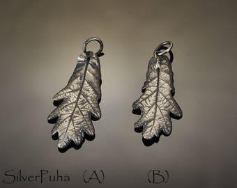 Oak silver leaf pendant