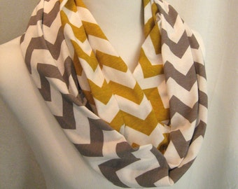 """60"""" Gray Grey and Gold Mustard Yellow Chevron colorblock Infinity Scarf - Jersey Knit - gray and mustard chevron stripe scarf"""
