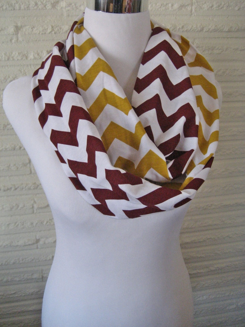 50d6b53e2c8 Maroon and Gold Team School Colors Infinity Scarf - Jersey Knit - fast  shipping - Made in the USA