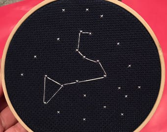 Leo Constellation Cross Stitch - MADE TO ORDER