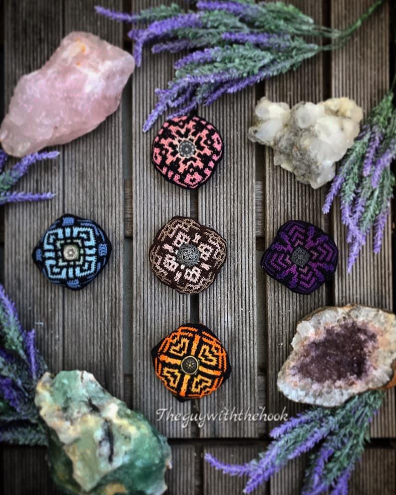 Crocheted Biscornu Swedish version Rose Quartz