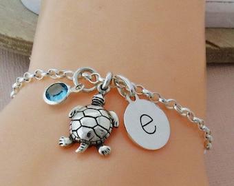 Sterling Silver Turtle Bracelet, Turtle Jewelry, Tortoise Charm Bracelet, Personalised Turtle Initial Bracelet, Sea Jewellery